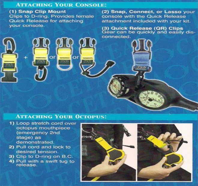 Cetacea - Reef Protection Kit – Quick Release Octopus Holder and Gauge Holder with Split Ring